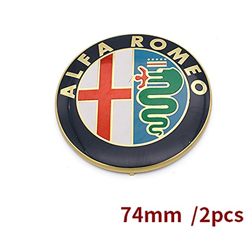 Specials sale Black white Color 74mm 7.4cm ALFA ROMEO Car Logo emblem Badge sticker for Mito 147 156 159 166 (gold)