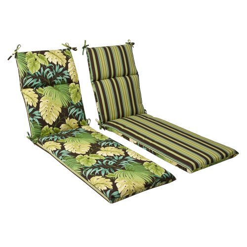 Pillow Perfect Indoor/Outdoor Green/Brown Tropical/Striped Reversible Chaise Lounge