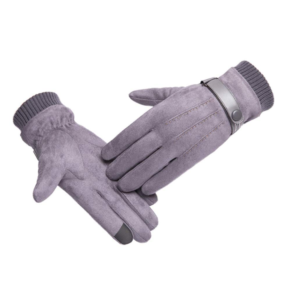 Riding Dual-.Use Non-.Falling Gloves Touch Screen Full Finger Gloves,Gray,A Winter Warm Deerskin Mens Gloves