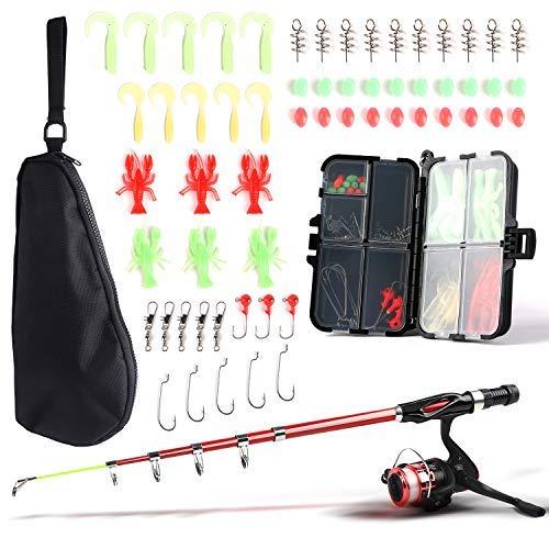 SupsShop Kit completo de caña de pescar y carrete para niños, 1,3 m, caña de pescar telescópica con carrete giratorio,...