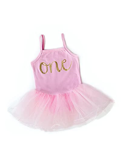 Baby Girl First Birthday Outfit, Sparkly Gold one Tutu Dress, Perfect for Baby's First Birthday