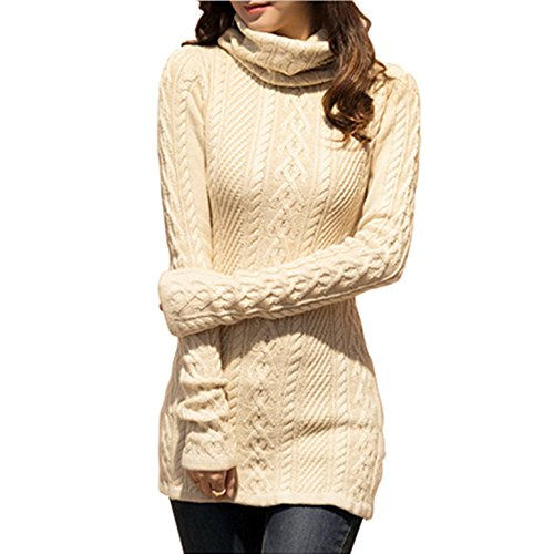 v28 Women Polo Neck Knit Stretchable Elasticity Long Slim Sweater 6-10,Beige
