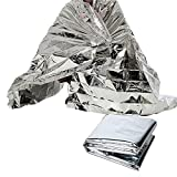 Carejoy 5 Pack Extra Large Emergency Blanket Servival Blanket 82'' X 62'' Space Mylar Blanket Essentials Accessories for Hiking Camping Marathons Camping Outdoors and Natural Disaster Survival Silver
