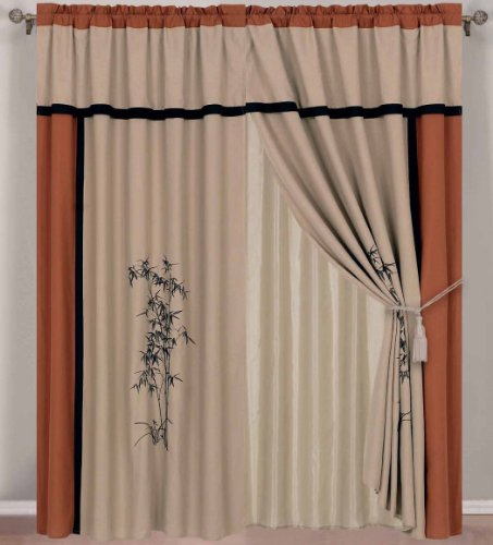 - Chezmoi Collection Kariya 4-Piece Embroidery Bamboo Window Curtain Set, 60 by 84 by 18-Inch, Rust/Light Taupe