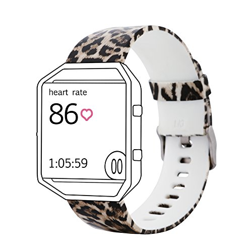 Leopard Wristband (Classic Rubber Replacement Accessory Band/ Wristband Bracelet Strap with Watchband Buckle for Fitbit Blaze Smart Fitness Watch (Leopard Print, Large))