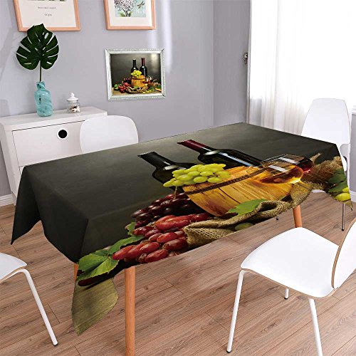 PRUNUSHOME Water Resistant Tablecloth barrel,bottles and glasses of wine and ripe grapes on wooden table Great for Buffet Table, Parties, Holiday Dinner, Wedding & More/52W x 108L Inch