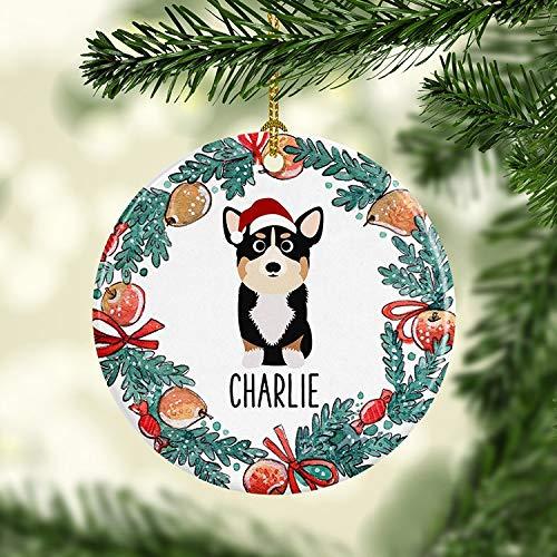 Tim Tri Color Corgi Ornament Personalized Santa Hat Dog Christmas Ornament Custom Pet Holiday Ceramic Ornaments Family -