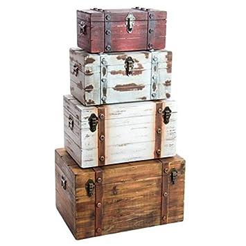Indhouse - Set de 4 Cajas de Madera Vintage