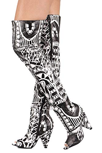Heel High Cone - Weboo Hollywood-01 Over Knee Thigh High Open Toe Cone Heel Grpahic Print Boots Black & White 8.5