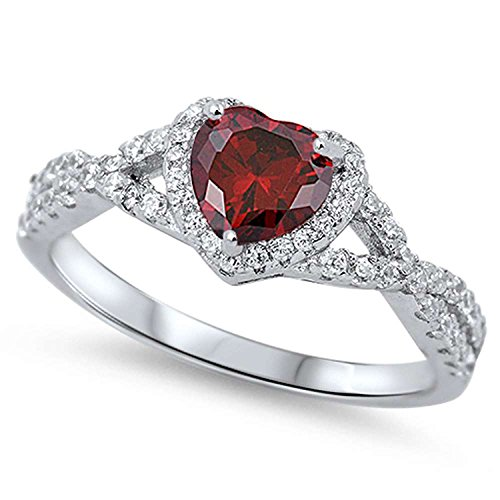 925 Sterling Silver Halo Promise Ring Heart shape Simulated Garnet Round Clear CZ Infinity Shank Ring, Size-5 (Wedding Anniversary Band Ruby)