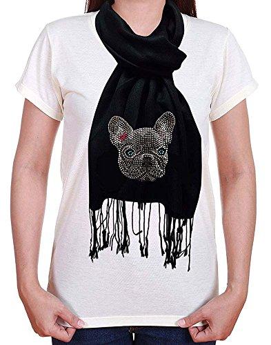 Womens French Bulldog Rhinestone Pashmina Scarf Wrap Bulldogs Ladies Black Rhinestone
