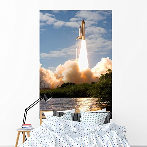 Space Shuttle Atlantis Lifts Wall Mural by Wallmonkeys Peel and Stick Outer Space Graphic (72 in H x 48 in W) WM95074