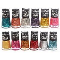 Makeup Mania Ultimate Glitter Nail Polish Set Combo (Multicolor Shimmer No.77, Pack of 12)