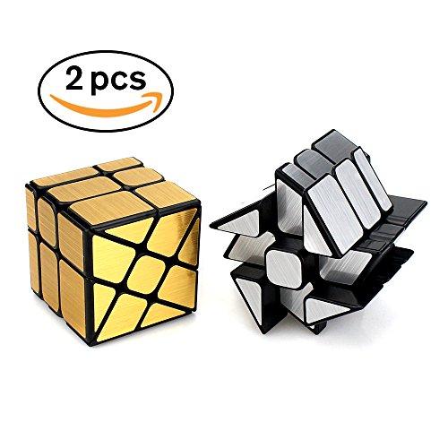 LIKIQ Mirror Cube Gold and Sliver Set,Windmill-Shaped Desktop Puzzle (Desktop Type)