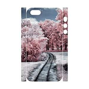 3D iPhone 5,5S Case,Through The Pink Woods Hard Shell Back Case for White iPhone 5,5S