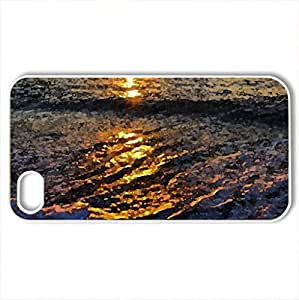 Beach Sunset! - Case Cover for iPhone 4 and 4s (Sunsets Series, Watercolor style, White)