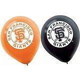 """Amscan San Francisco Giants Major League Baseball Printed Latex Party Balloons, 12"""", Black/Orange"""