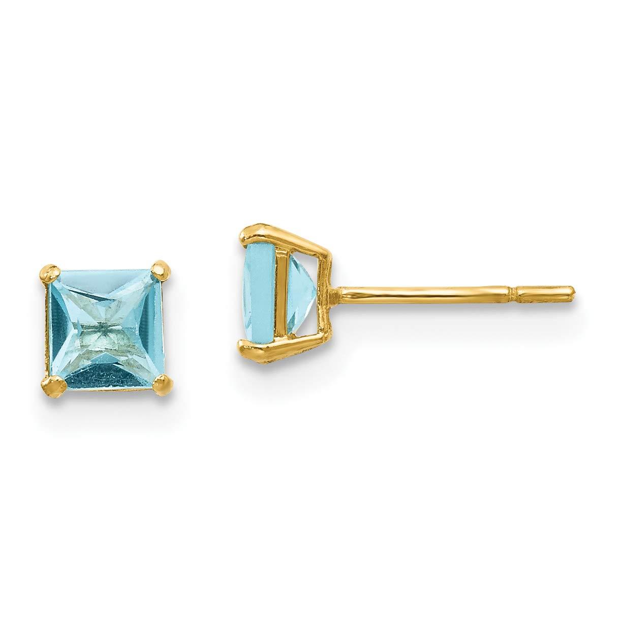 14K Yellow Gold Madi K Childrens 4 MM Square Blue Topaz Post Stud Earrings