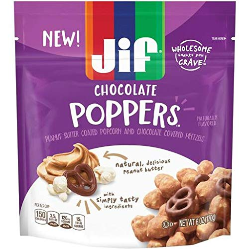 Jif Peanut Butter Poppers - Resealable Bag - Peanut Butter Chocolate (Pack of 20)