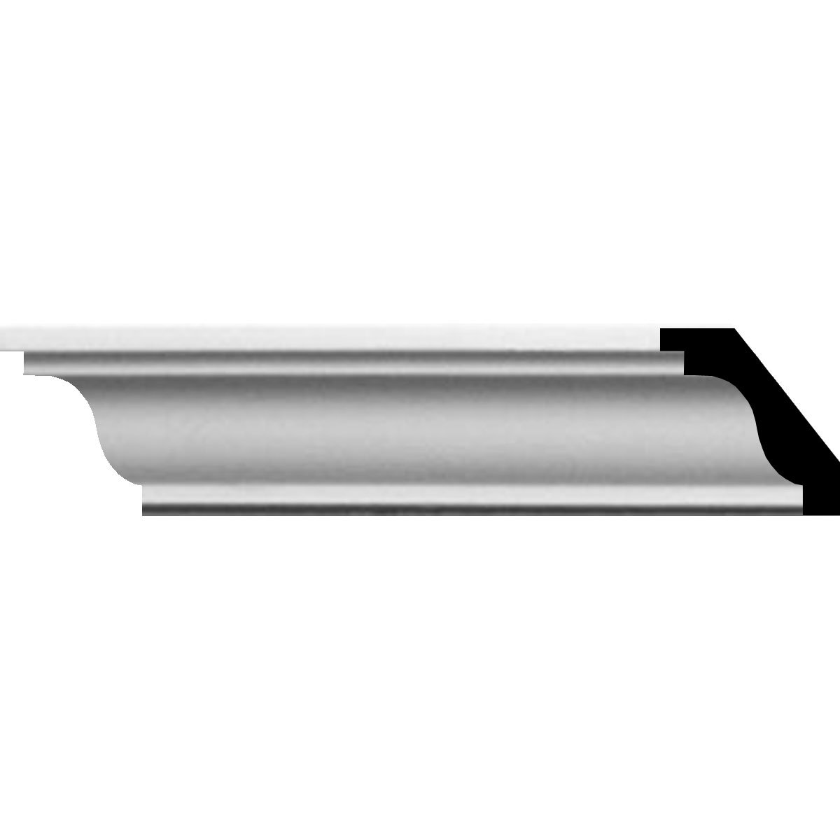 Ekena Millwork MLD01X01X01HI-CASE-12 1-1/4'' H x 1-1/4'' P x 1-3/4'' F x 94-1/2'' L Hillsborough Traditional Smooth Crown Molding (12-Pack)