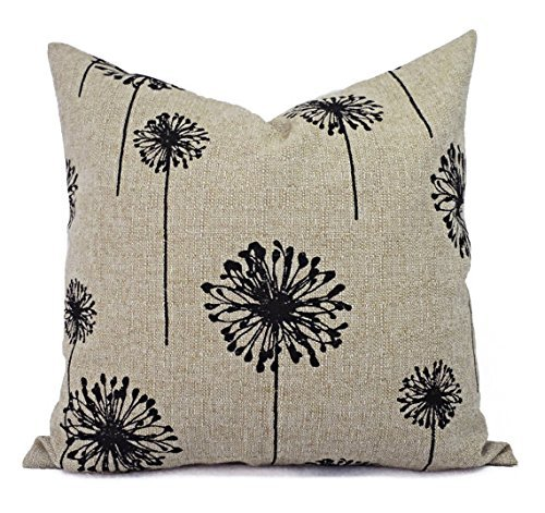 Modern Black Dandelion Pillow Cover - Black and Tan Burlap Pillow - Custom Sized Pillows