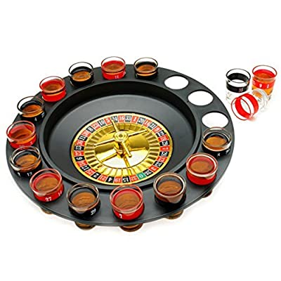 The Premium Drinking Roulette Game - 16 Shot Glasses, 2 Balls Set - Spinning Wheel: Sports & Outdoors