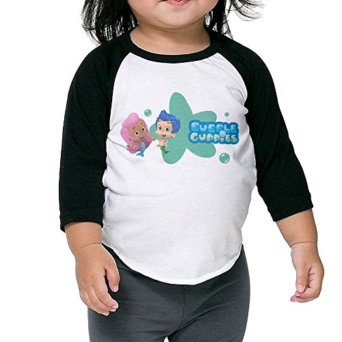 Grace Little Bubble Guppies Cartoon Vintage Boys & Girls Baby 100% Cotton 3/4 Sleeve Raglan T-Shirts Unisex Black (Bubble Guppies Car Seat Cover)