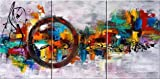 Santin Art-Circle Of Magic Modern Canvas Art Wall Decor Abstract Oil Painting Contemporary Art Abstract Paintings Framed Canvas Wall Art for Home Decor 3 panels Wall Decorations For Living Room Bedroom Office Ready to Hang Picture