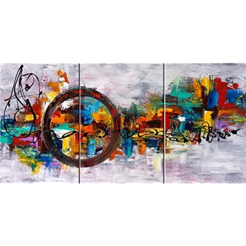 Santin Art Circle Of Magic Modern Canvas Art Wall Decor Abstract Oil  Painting Contemporary Art Abstract Paintings Framed Canvas Wall Art For  Home Decor 3 ...