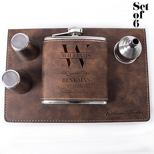 Set of 6, Set of 3, Single - Personalized Leatheratte Flask, Groomsmen Gift, Customized Groomsman Flasks, Wedding Favors, Design 6, Set of 6, Rustic