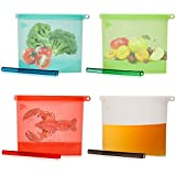 Reusable Silicone Food Storage Bags with Slider- Sandwich Ziplock...