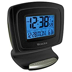Westclox 70026 Large Display W/Indoor Temp, Touch Activated Back Light, Battery Operated (5 minute Snooze)