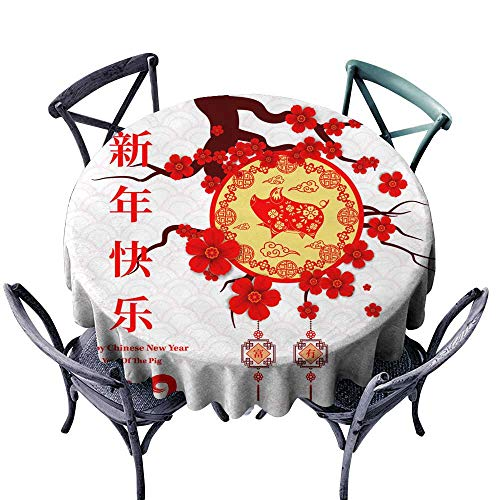Wholesale tablecloths Happy Chinese New Year 2019 year of the pig paper cut style Chinese characters mean Happy New Year wealthy Zodiac sign for greetings card flyers invitation posters brochure - Wholesale Tablecloths Polyester