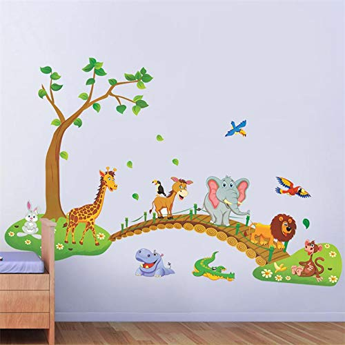 Jungle Animal Across the Bridge Removable Cartoon Wall Sticker Wall Decal Wall Decor Wallpaper for Kids Children ()