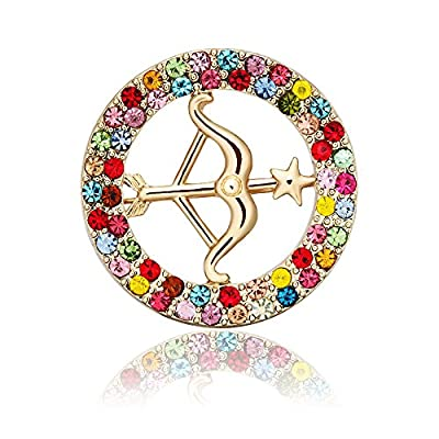 Top TUSHUO 5 Colors Round Shape Gold-Plated Bow and Arrow Brooch Pin Love's Arrow Brooch for cheap