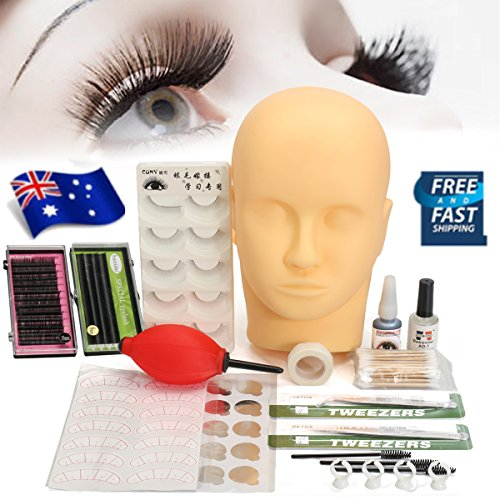 Mannequin Training Make Up False Eyelashes Extension Practice Set, LuckyFine Professional Head Model Glue Tool Kit for Makeup Massage Practice (Training Tool Kit)