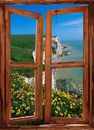 Blick aus dem fenster meer  ART FEVER Abziehen & Aufkleben Fenster Shutter Meer Szene. Blick ...