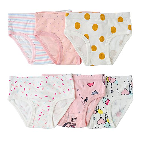 Cover Cotton 134 (Aschic Toddler Girl's Soft Cotton Panties Little Kid's Multipack Assorted Briefs Underwear (Multi 3, 3-4 Years))
