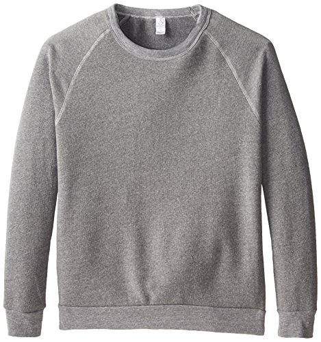 Raglan Sweatshirt (Alternative Unisex Long Sleeve Basic Crew Fleece, Eco Grey Heather, Large)