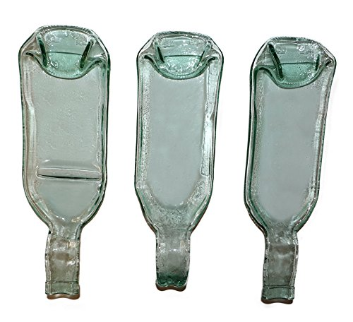 (Set of 3 original tableware items made of melted wine bottles: plate, serving tray, sauce-boat etc (Transparent))