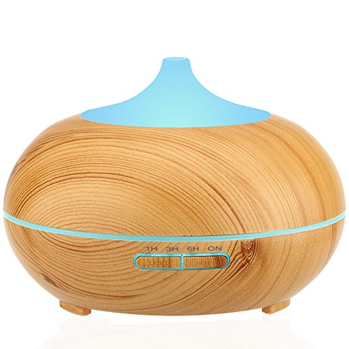 Aromatherapy Diffuser, Ultrasonic Cool Mist Whisper-Quiet Humidifier with Color LED Lights Changing & Auto Shut-Off
