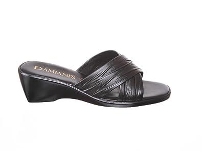 Womens Damianis Italian Shoemakers Women's Cross-strap Wedge Sandals (6,  black)