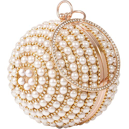 Woman Round Ball Clutch Handbag Rhinestone Ring Hangdle Purse Artificial Pearls Evening Bag