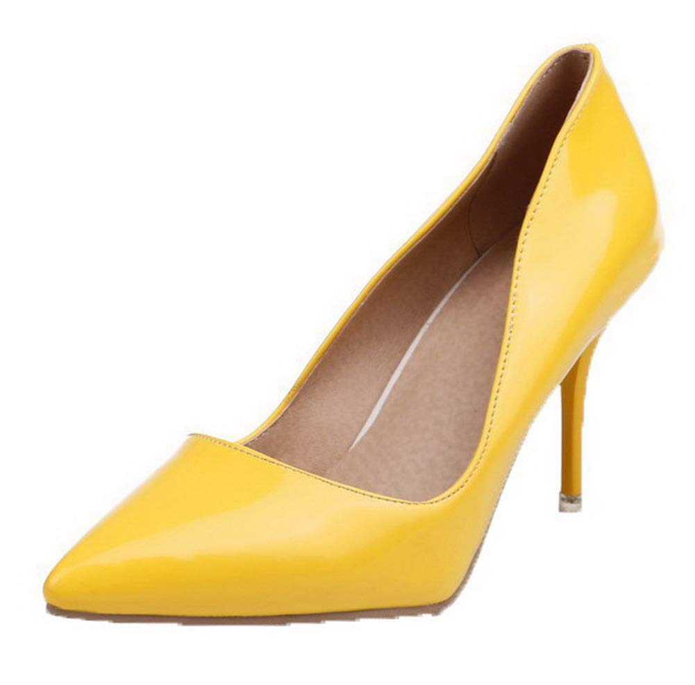 WeiPoot Women's Patent Leather High-Heels Solid Pumps-Shoes, EGHDH002972, Yellow, 43