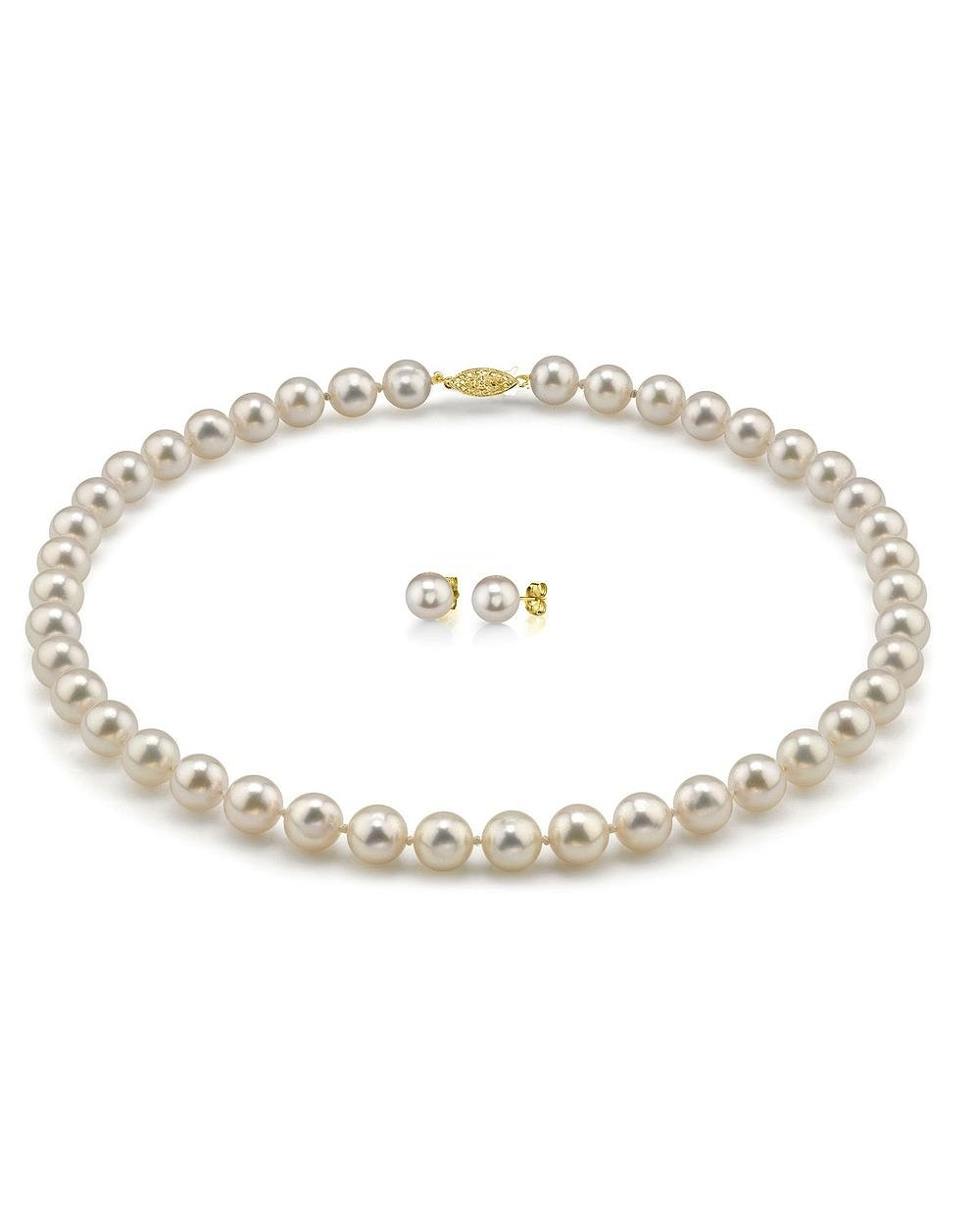 14K Gold 7.5-8.0mm Hanadama Japanese Akoya White Cultured Pearl Necklace & Earrings Set, 18'' Length