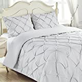 King & Queen Home Reinforced Double Stitch 3 Piece Pinch Pleat Comforter Set (Full, White)