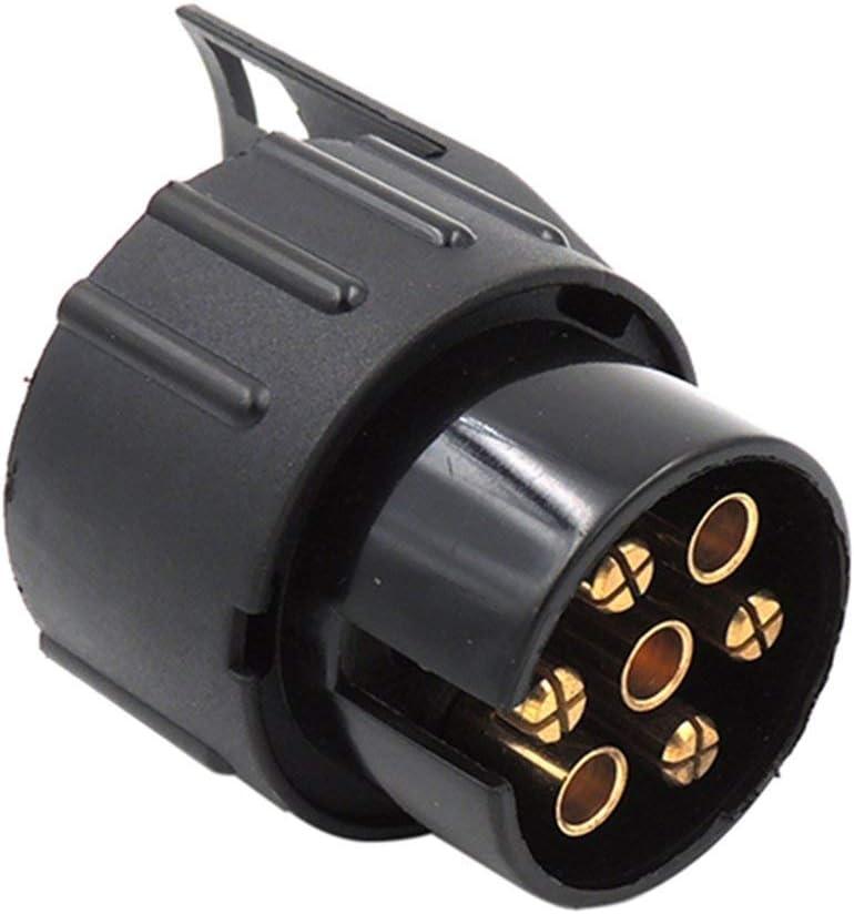 DF-FR European Car 7 Turn 13 Socket Adaptateur pour remorque Interface de camion Prise de cordon dalimentation Rv Connecteur /étanche 12V couleur: noir