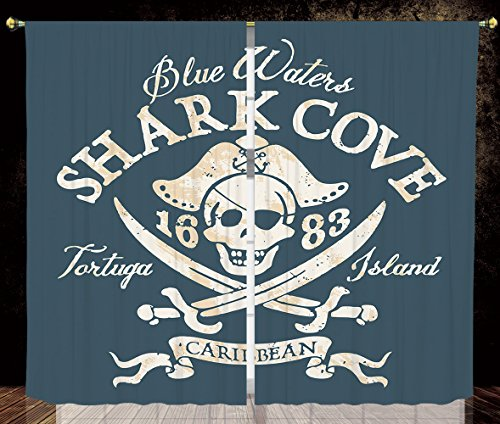 (2 Panel Set Thermal Insulated Blackout Window Curtain,Pirate Shark Cove Tortuga Island Caribbean Waters Retro Jolly Roger Slate Blue White Light Mustard,for Bedroom Living Room Dorm Kitchen Cafe)