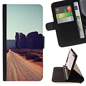 Momo Phone Case / Flip Funda de Cuero Case Cover - Rocas de Cliff Road Sandy Brown - HTC Desire 820