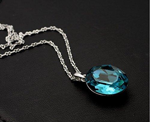 Galaxy Fashion Jewellery Parure boucles d'oreille et pendentif avec pierres ovales Swarovski Fini or blanc 18 carats